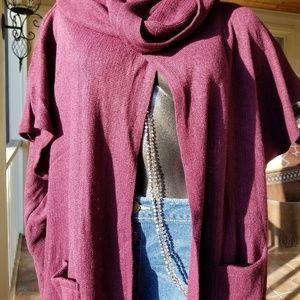 Sweaters - Wine Cape w/ Fringe & Pockets- One size fits most